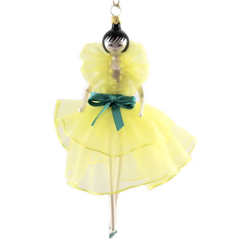De Carlini LADY IN YELLOW Glass Ornament Italian Do7343 37715