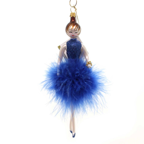 De Carlini LADY IN BLUE FEATHER DRESS Glass Italian Ornament Do7461b 37727
