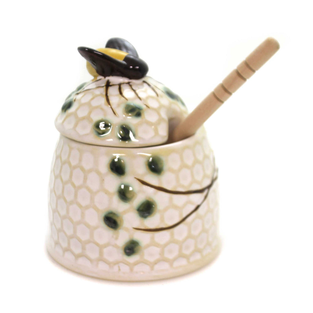 Tabletop HONEY JAR W/ HONEY DIPPER Stoneware Bee Comb Da7516