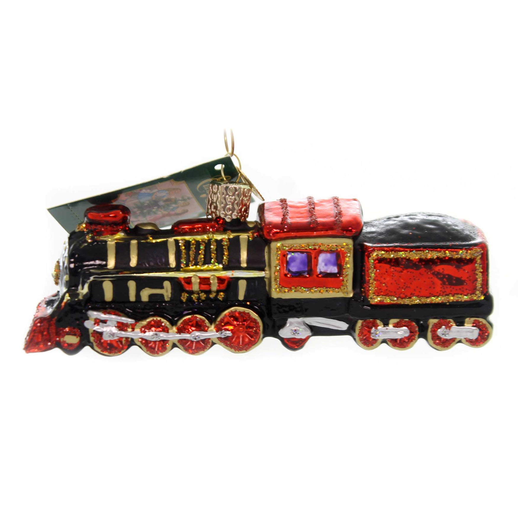 Christmas Train.Old World Christmas Train Glass Steam Locomotive 46080