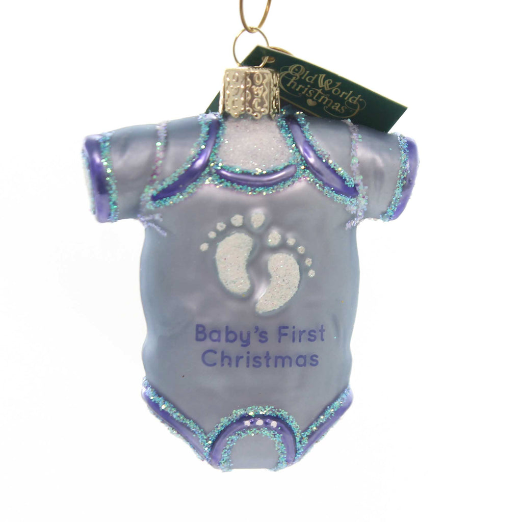 Old World Christmas BLUE BABY ONESIE Glass Infants Dress 32339