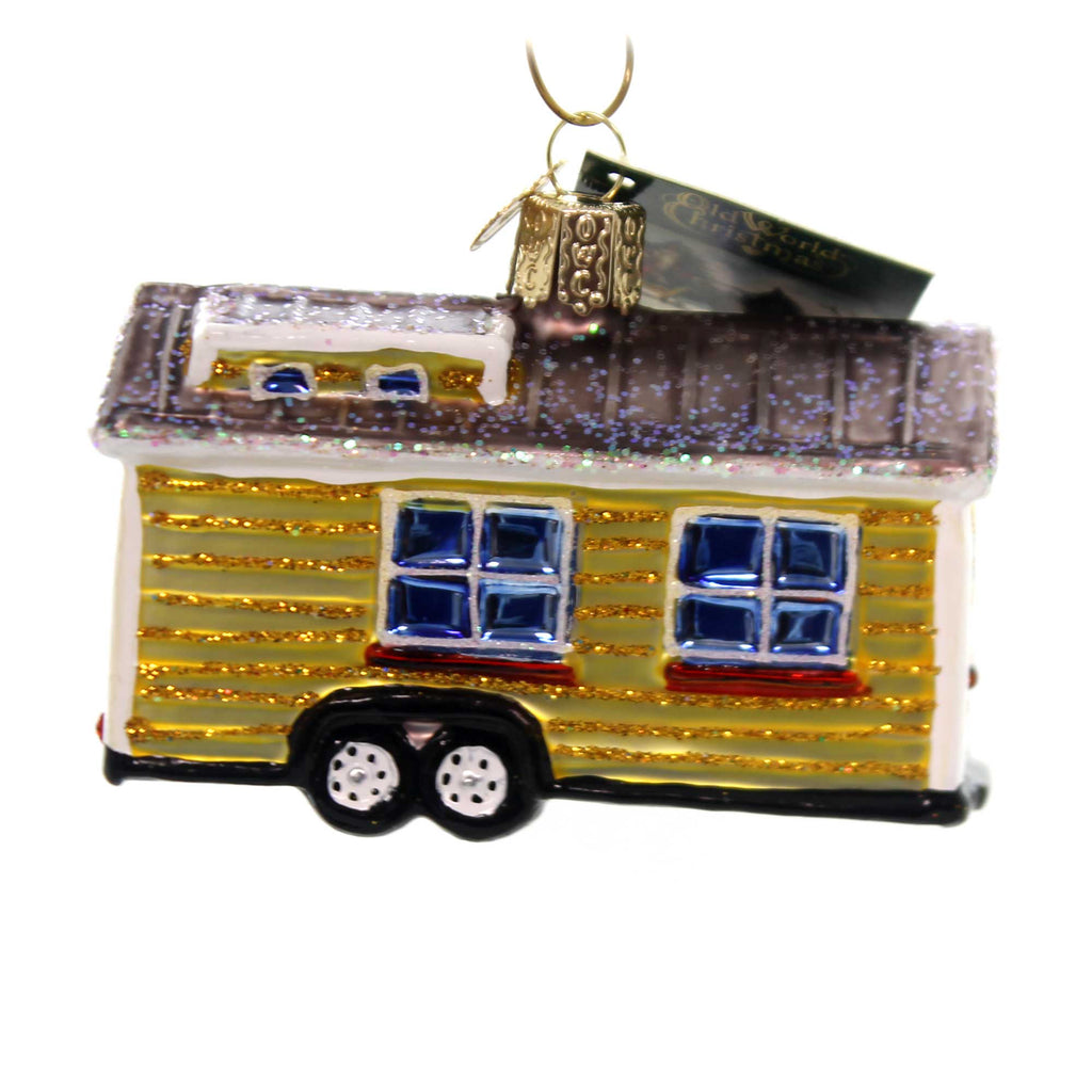Old World Christmas TINY HOUSE Glass Downsize Mobile Home 20106