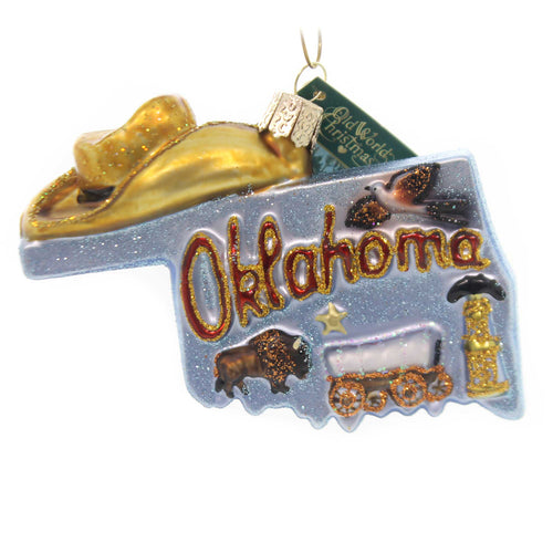 Old World Christmas STATE OF OKLAHOMA Glass Sooner Cowboys 36224