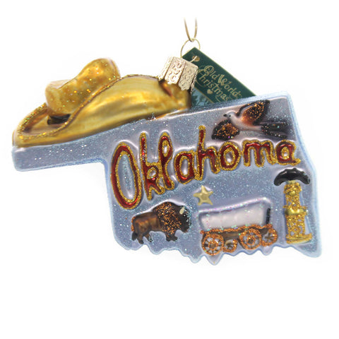 Old World Christmas STATE OF OKLAHOMA Glass Sooner Cowboys 36224 37801
