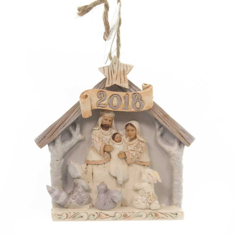 Jim Shore WHITE WOODLAND NATIVITY 2018 Polyresin Heartwood Creek 6001417 37831