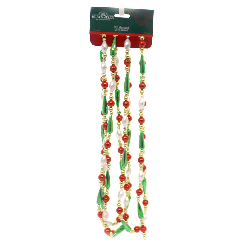 Christmas MULT COLOR BEAD DROP GARLAND Plastic Red Gold Green White H0262