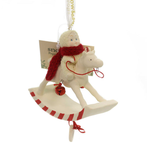 Dept 56 Snowbabies PEPPERMINT PONY, 2018 ORNAMENT Rocking Horse Dated 6001888 37895