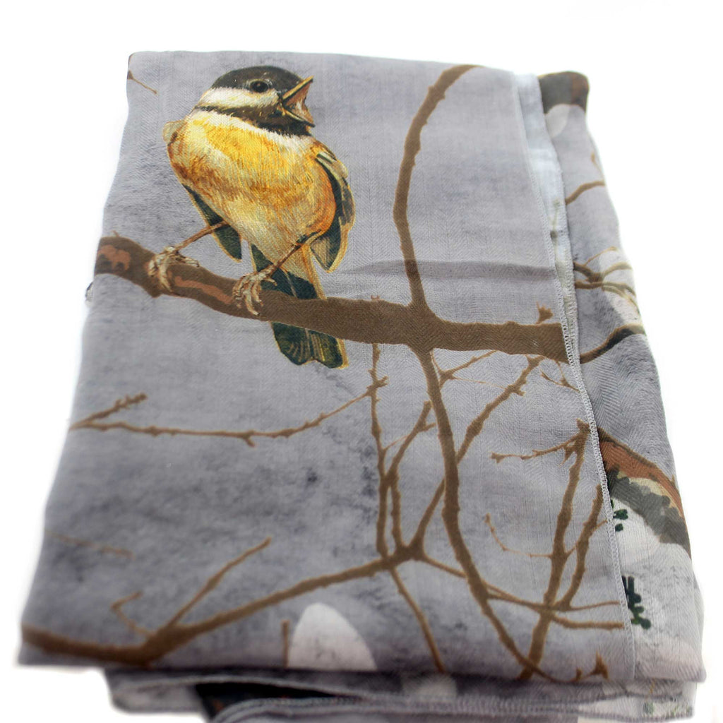 Apparel GRAY BIRD ON BRANCH SCARF VEST Fabric Polyester 1004250146