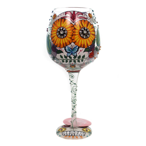 Tabletop SUGAR SKULL TWO Glass Love My Wine Glass 6000215 37954