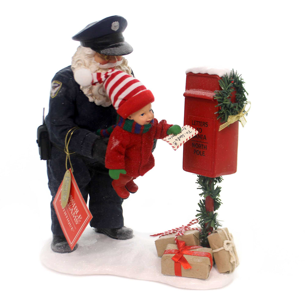 Possible Dreams PROTECT AND SERVE Fabric North Pole Police Mailbox 6000799