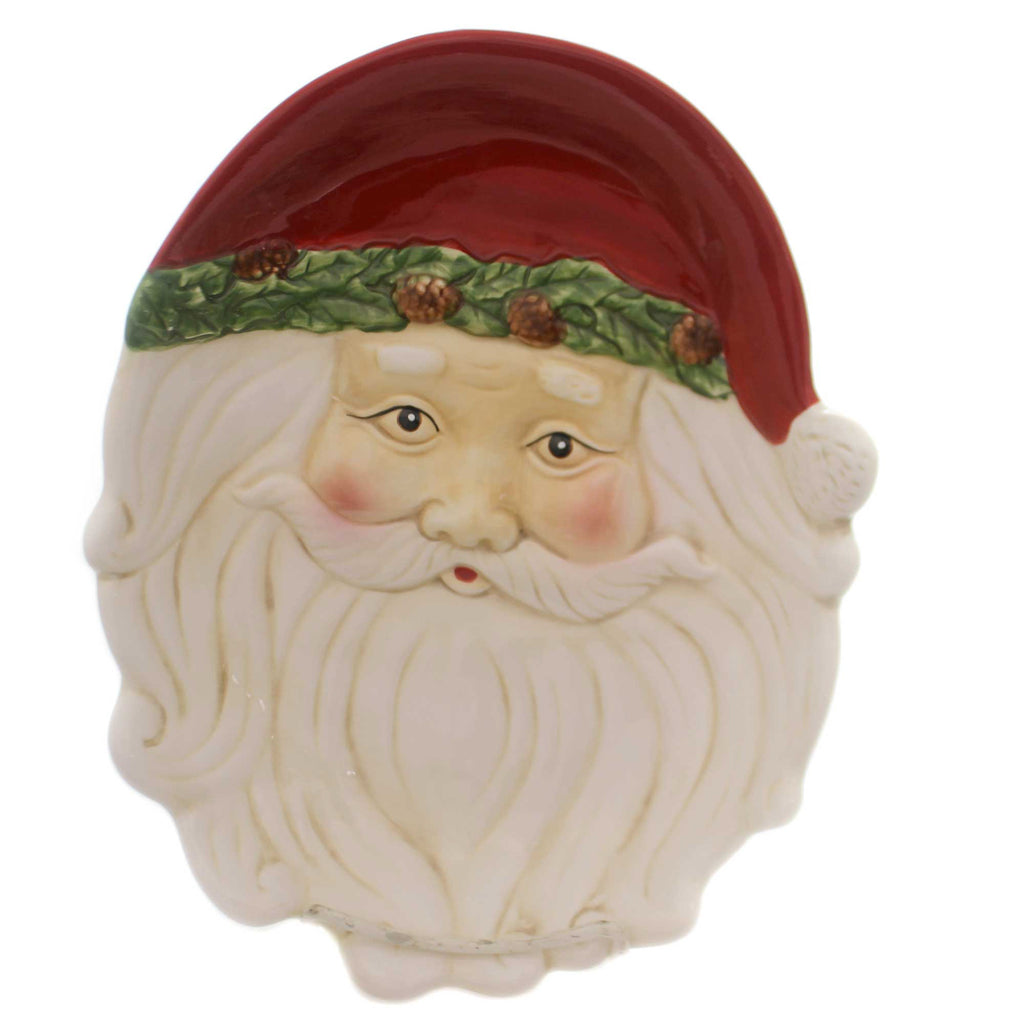 Tabletop LG SANTA FACE PLATE Ceramic Christmas Holiday Party 53180B