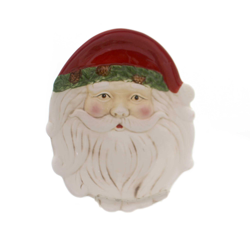 Tabletop SMALL SANTA FACE PLATE Ceramic Christmas Holiday 53180A