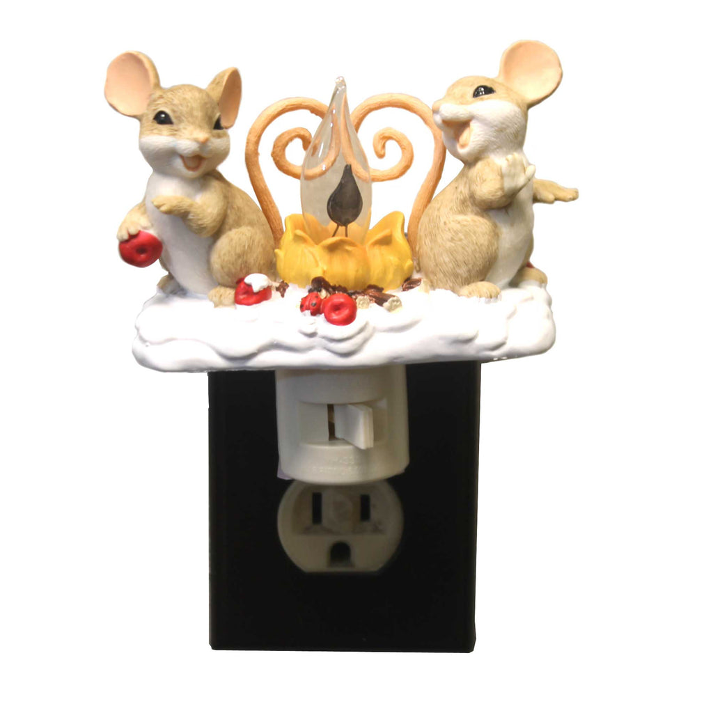 Charming Tails MICE BY FIRE FLICKER NIGHTLIGHT Polyresin Campfire 131122