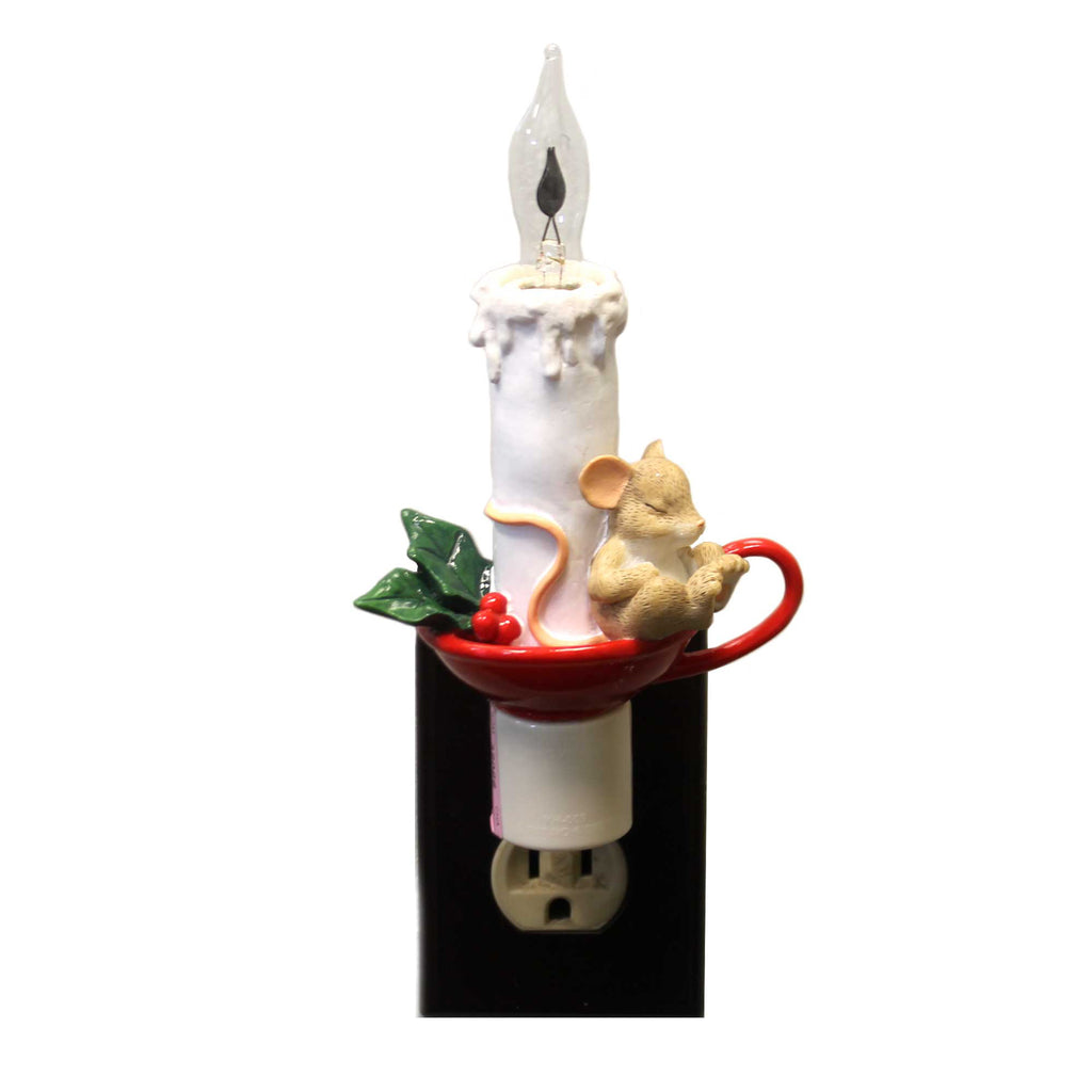 Charming Tails SLEEPING MOUSE ON CANDLE NIGHT LIGHT Polyresin Dean Griff 130441