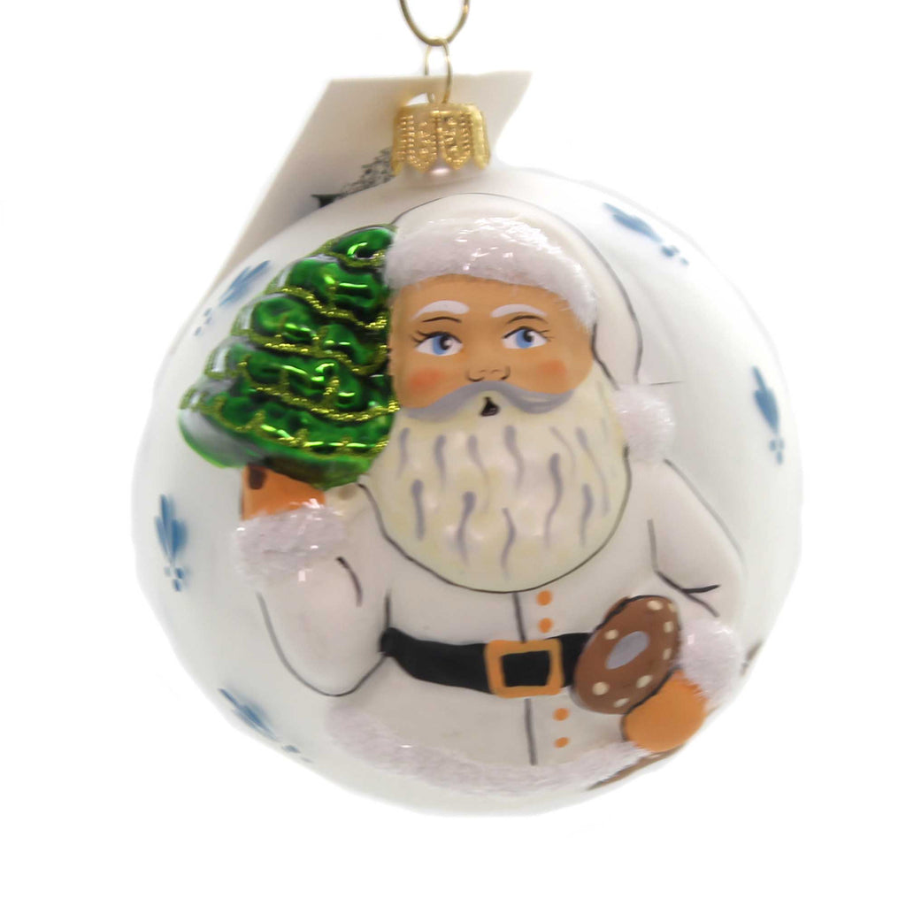 Vaillancourt JINGLE BALL WITH SWAG SANTA Glass Hand Painted Poland Or18503