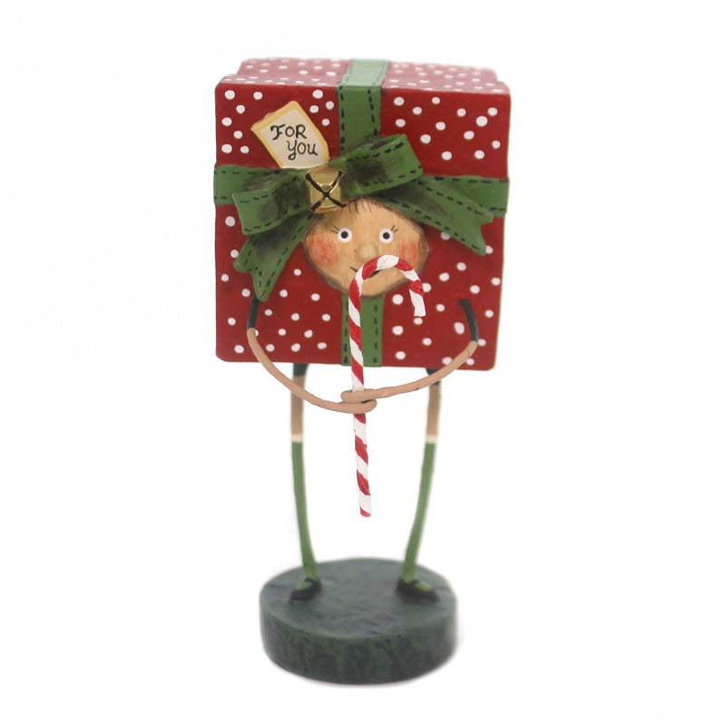 Lori Mitchell ALL WRAPPED UP Polyresin Christmas Present Candy Cane 11090