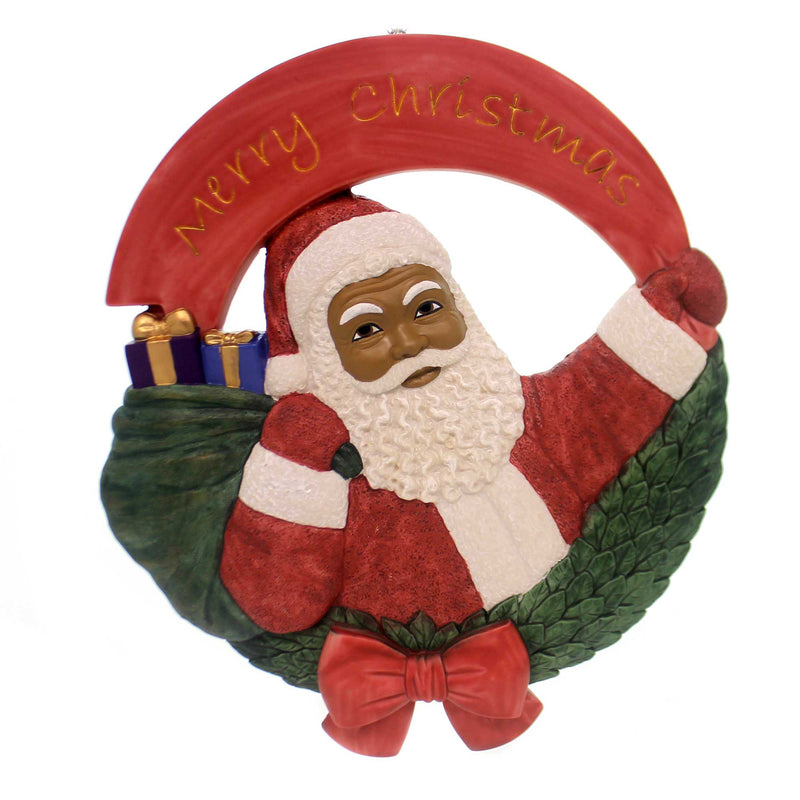 Black Art SANTA WALL PLAQUE Polyresin African American Christmas 17099