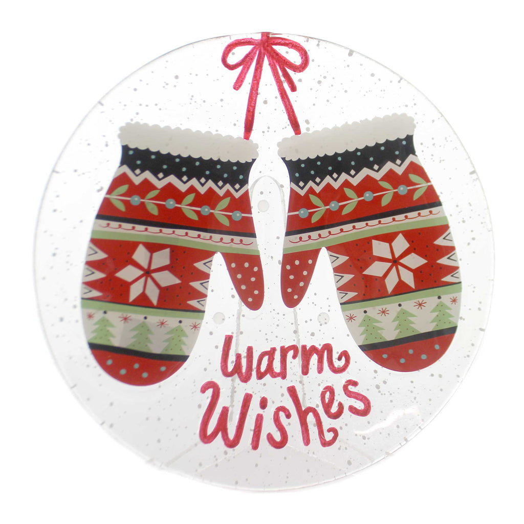 Tabletop MITTENS ROUND PLATE Glass Warm Wishes 2020180488