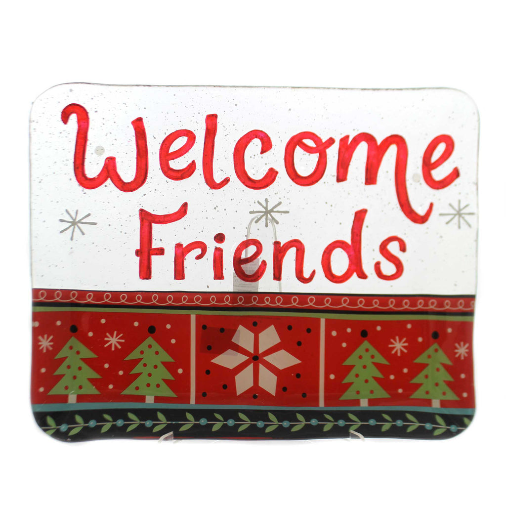 Tabletop WELCOME FRIENDS PLATTER Glass Christmas Snowflakes 2020180473