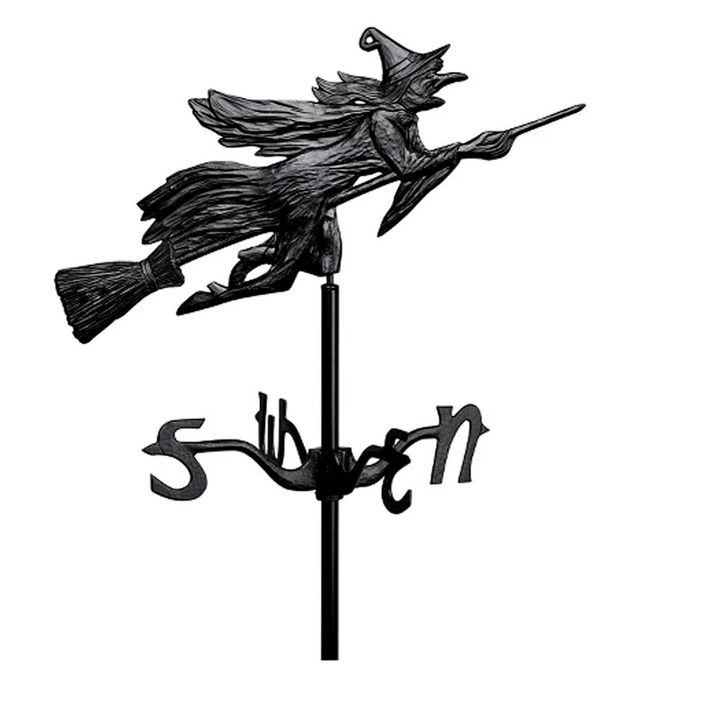 Halloween WITCH WEATHER VANE YARD STAKE Metal Flying Broom 00084