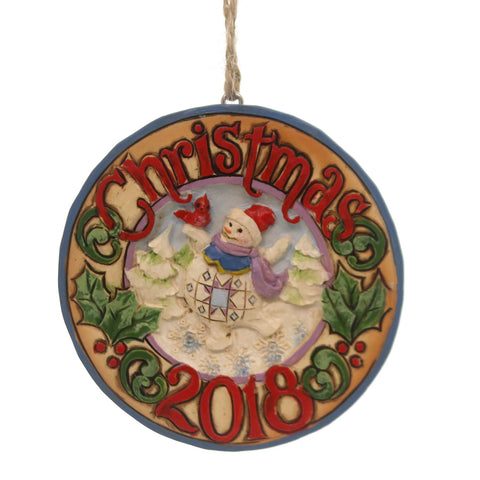 Jim Shore DATED SNOWMAN 2018 ORNAMENT Polyresin Christmas 6001500 38479