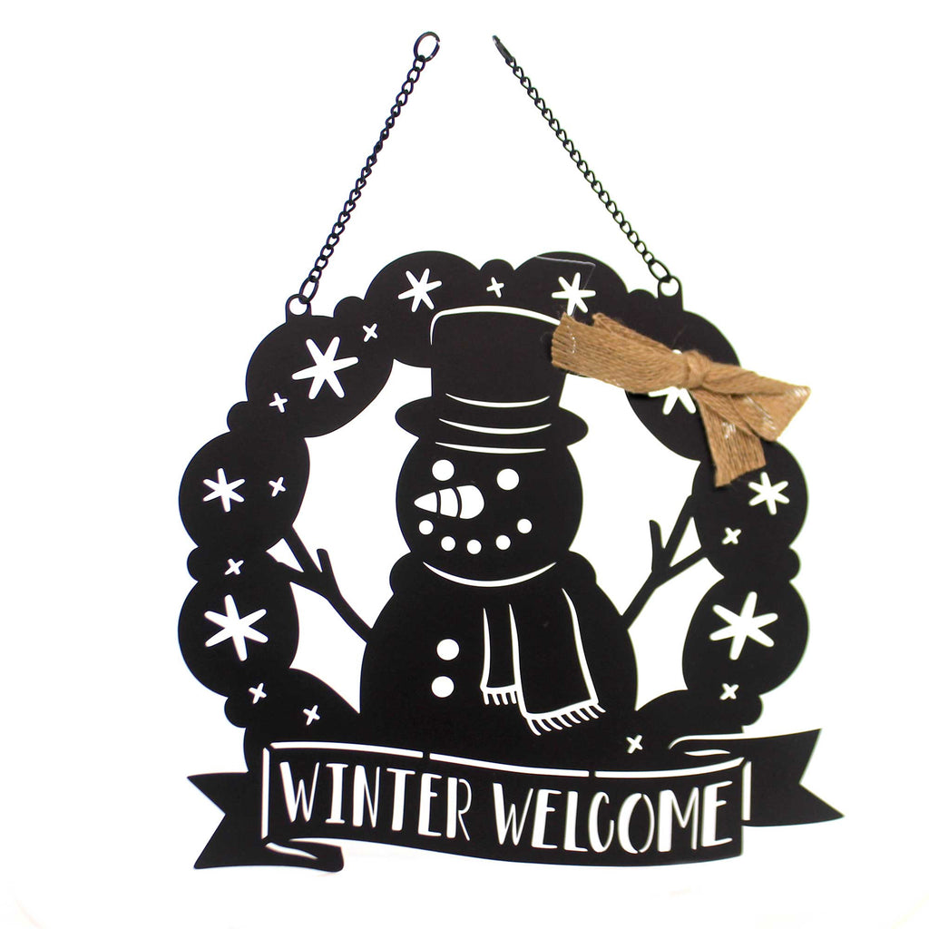 Yard Decor SNOWMAN WREATH GARDEN FLAG Metal Lazer Cut Doorr Hanger 44039