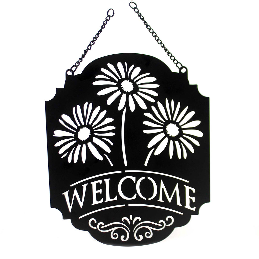 Yard Decor WELCOME GERBERA GARDEN FLAG Metal Dorr Hanging Summer 44022
