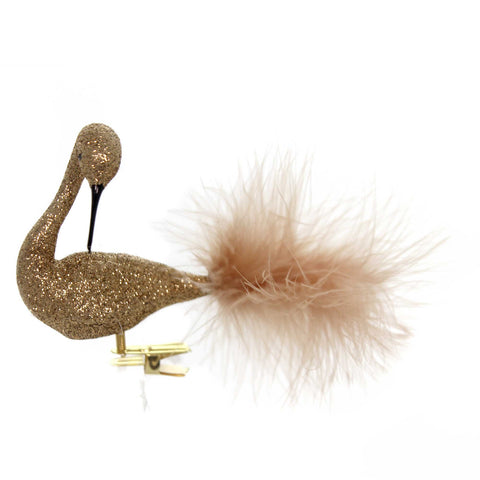 Golden Bell Collection COPPER GLITTERED SWAN Christmas Ornament Clip-On Br468 38536