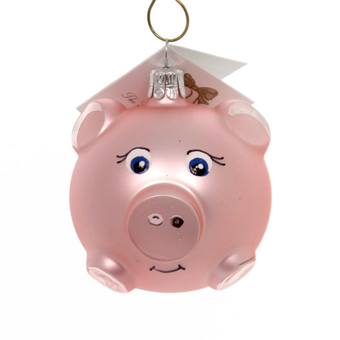 Golden Bell Collection LITTLE PIGGIE Glass Christmas Ornament An389 38537