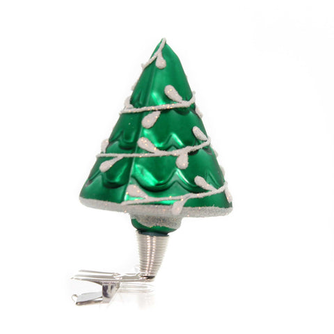 Golden Bell Collection GREEN CHRISTMAS TREE Glass Clip-On Nm724 38538