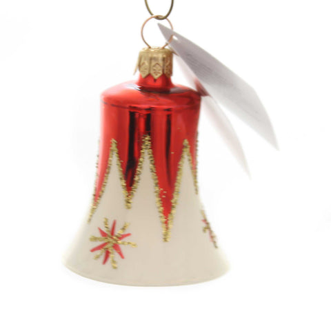 Golden Bell Collection RED/CREAM BELL WITH STARS Christmas Ornament Beb010 38563