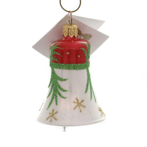 Golden Bell Collection RED/WHITE BELL W/GLITTERED STEM Christmas Ornament Beb009 38564