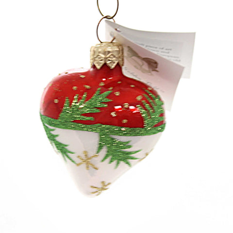 Golden Bell Collection RED/WHITE HEART W/ GREEN STEMS Ornament Glittered Hrb014 38566