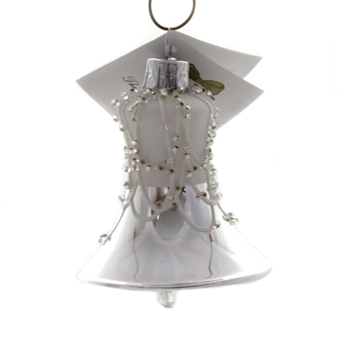 Golden Bell Collection MATTE WHITE AND SILVER BELL Christmas Ornament Be183 38570