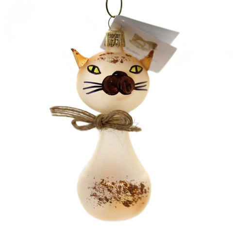 Golden Bell Collection TRANSLUCENT BROWN CAT Christmas Ornament Glittered An764 38574