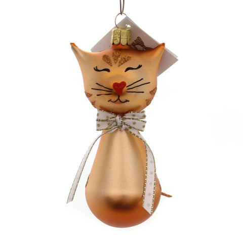 Golden Bell Collection BROWN KITTY W/BOW TIE Glass Christmas Ornament Cat An471 38575