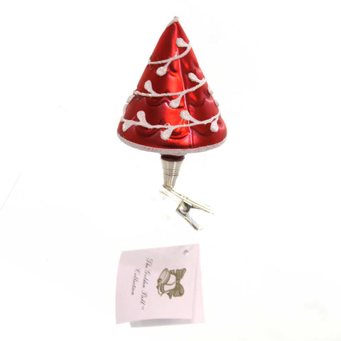 Golden Bell Collection RED CHRISTMAS TREE CLIP-ON Glass Hand Painted Nm723 38583