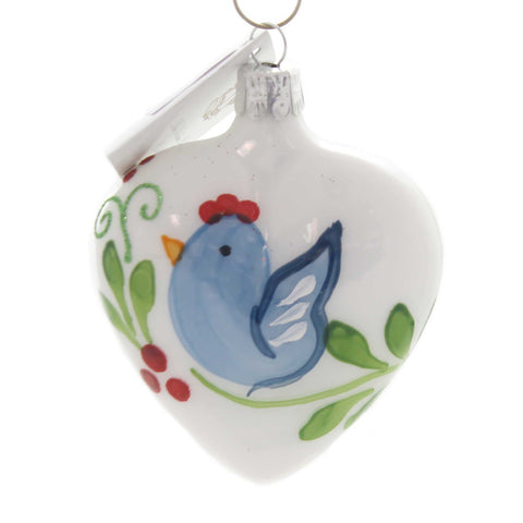 Golden Bell Collection HEART WITH BLUEBIRD Glass Hand Painted Hr155 38586
