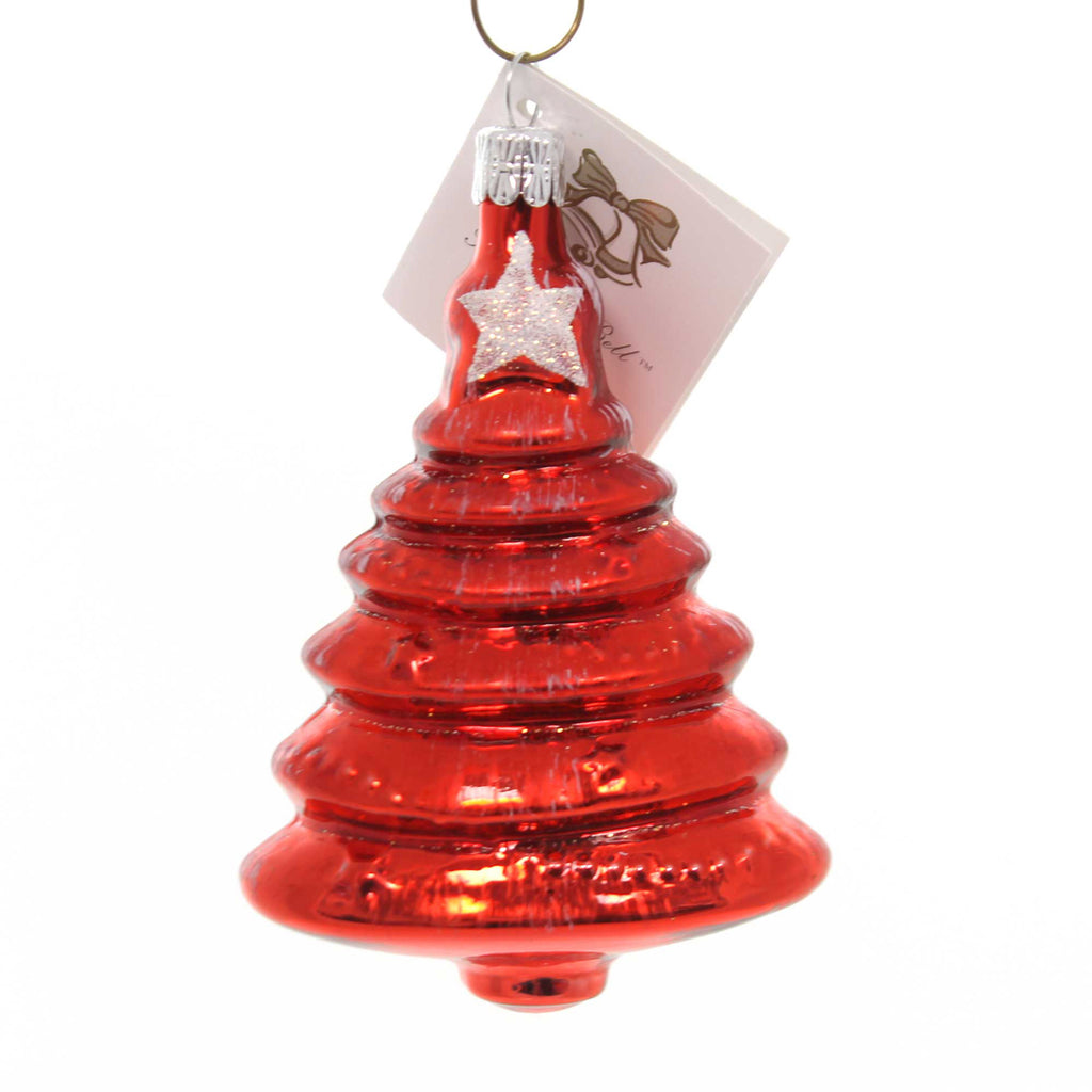 Golden Bell Collection RED TREE WITH WHTIE STAR Glass Hand Painted Nm719