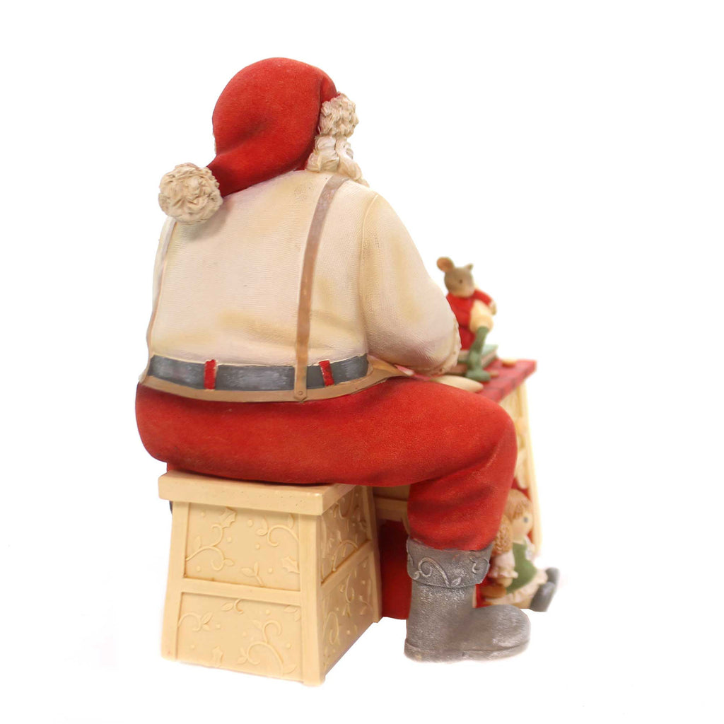 Christmas FINISHING TOUCHES W/MICE BRUSHE Polyresin Santa Workshop 6001374