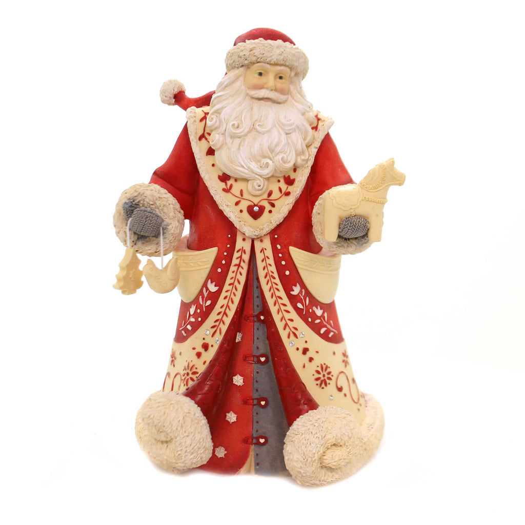Christmas GOD JUL! Polyresin Santa Toys 6001375