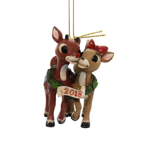 Jim Shore RUDOLPH WITH CLARICE DATED 2018 Polyresin Dated 6001596 38667