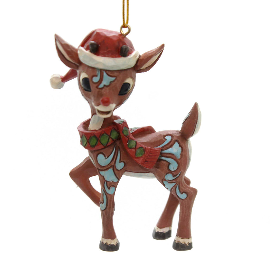 Jim Shore RUDOLPH REINDEER SANTA HAT Polyresin Ornament 6001599