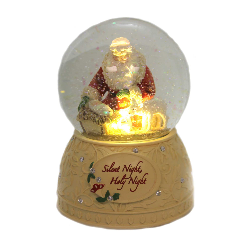 Christmas SILENT NIGHT, HOLY NIGHT GLOBE Polyresin Kneeling Santa 6001401