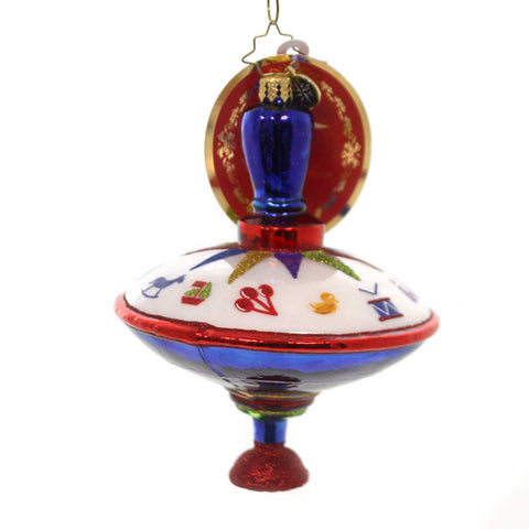 Christopher Radko TOYING TIME Glass Spin Top Ornament 1019598 38683