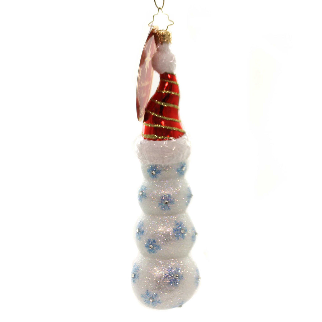 Christopher Radko STACKED HIGH Glass Snowman Ornament 1019608