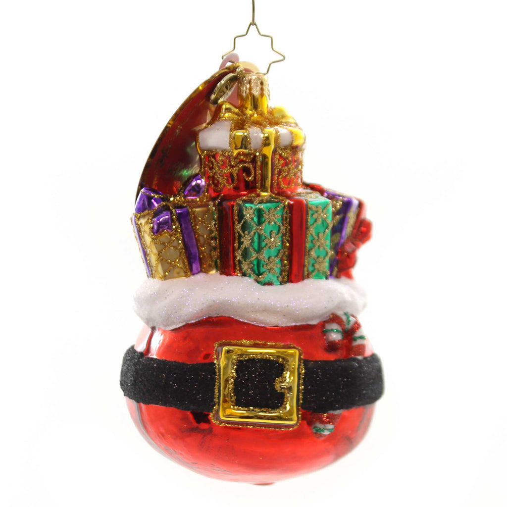 Christopher Radko BUCKLE UP FOR THE HOLIDAYS! Glass Santa Bag Packages 1019379