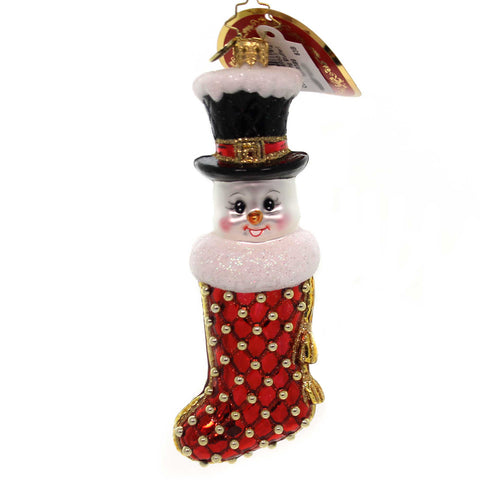 Christopher Radko COOL STOCKING STUFFER! Glass Snowman 1019389 38694
