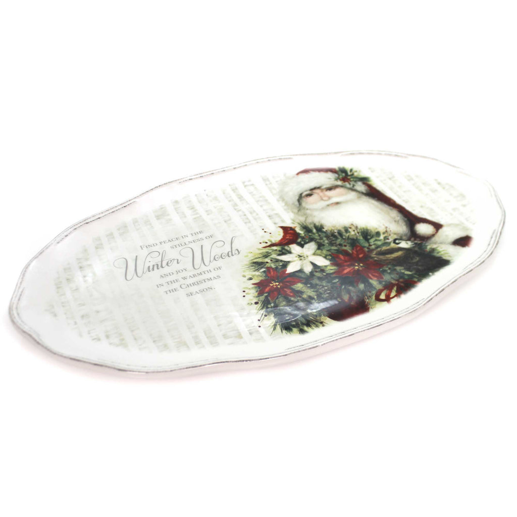 Tabletop BOTANICAL SANTA PLATTER Ceramic Dishwasher Safe 2020180704
