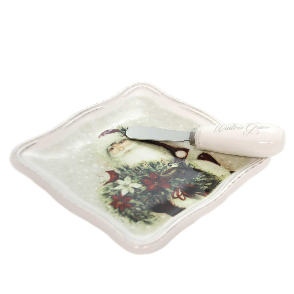 Tabletop BOTANICAL SANTA PLATE & SPREADER Ceramic Winter's Grace 2020180707`